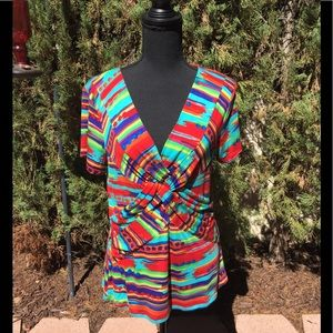 CABLE & GAUGE MULTI COLORED TOP - SIZE XL